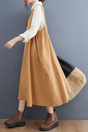 实拍现货2021年秋季新款棉麻背心裙大码女装马甲裙