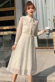 春秋新款女裝超仙蕾絲連衣裙中長款收腰氣質顯瘦長袖內搭打底裙子