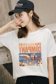446#实拍短袖女t恤韩版2018夏装上衣服白色体恤学生体桖衫