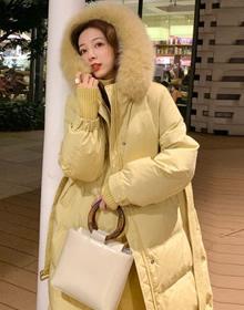 官网图 夏诗文同款羽绒服女2020新款冬中长款加厚外套面包棉服