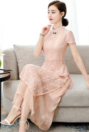 蕾絲連衣裙夏季2020新款名媛氣質淑女修身顯瘦日常改良旗袍裙子仙