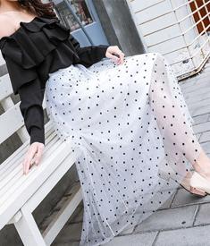 实拍!波点网纱半身裙女2019新款气质显瘦中长款A字裙伞裙大摆裙