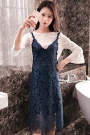 春夏季新款性感蕾丝中长款吊带连衣裙套装女喇叭长袖上衣两件套