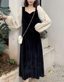实拍~新款金丝绒连衣裙法式方领泡泡袖收腰显瘦连衣裙 M-4XL200斤