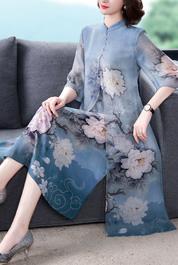 真丝连衣裙2020春夏新款立领复古中袖桑蚕丝中长裙大码妈妈女裙