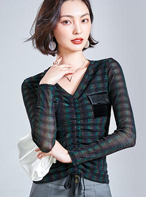 1210# (新款) 新款V领格子亮丝抽绳修身百搭网纱打底衫女
