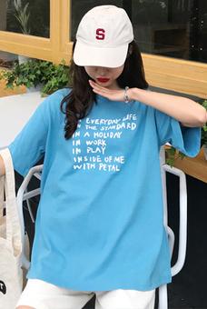 9815#纯棉  实拍夏季港风chic短袖t恤女宽松慵懒风学生大版上衣