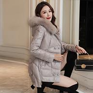 2019秋冬新款海寧PU皮羽絨服女時尚顯瘦中長款真狐貍毛領皮衣外套