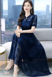 实拍3095#2021夏季新款高档提花连衣裙短袖气质修身中长裙女