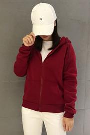 2018秋冬装新款连帽卫衣女加绒外套bf宽松韩版学生长袖加厚开衫冬