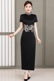 实拍旗袍改良版连衣裙2020新款中国风复古日常生活装修身长款