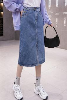 9097#实拍2021大码韩版复古开叉百搭高腰直筒显瘦牛仔半身中长裙