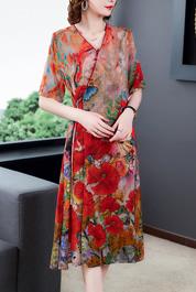 2020款欧洲潮流时尚桑蚕丝印花长裙复古宽松真丝连衣裙夏改良旗袍