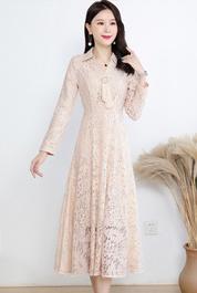实拍3011#长袖蕾丝连衣裙女2021春装新款韩版中长款高腰显瘦A字裙