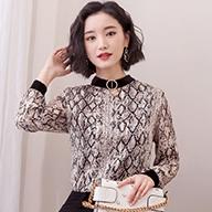 2019春天新款立领印花洋气小衫时尚雪纺上衣打底衫女长袖