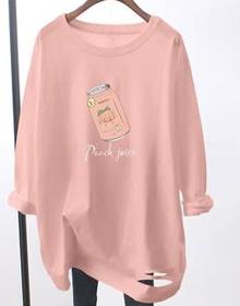 8239#官图纯棉大码女装2020秋装果汁印花粉色圆领长袖T恤女chic潮
