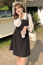 2021春款黑色拼接连衣裙女新款过膝中长款裙子小个子气质法式复古