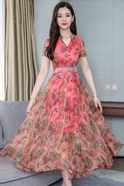 夏季连衣裙2019新款韩版修身显瘦长款气质印花雪纺裙子.