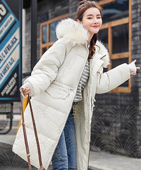 6601#实拍东大门同款大毛领羽绒服女长款冬季韩版潮收腰过膝棉衣