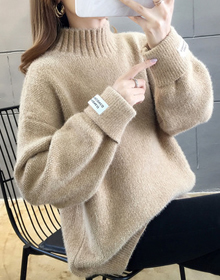2878#實拍【包芯紗好質量】2019網紅小高領套頭純色長袖針織毛衣