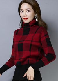 实拍秋冬新款套头毛衣女格子毛衣民族风大码针织衫时尚百搭打底衫