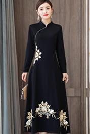 实拍加绒改良旗袍女中长款中国风复古刺绣加厚祺袍连衣裙冬季