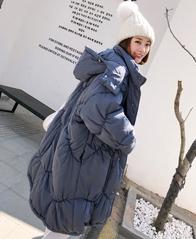 实拍棉衣女过膝长款冬韩版廓形围脖羽绒棉服皱褶超宽加厚棉袄chic