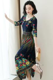 实拍春夏女装2019新款荷叶边印花长裙子复古修身裙优雅长款连衣裙