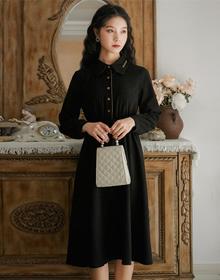 实拍2020新款冬季灯芯绒连衣裙女秋冬法式冬裙子小黑裙长袖衬衫裙