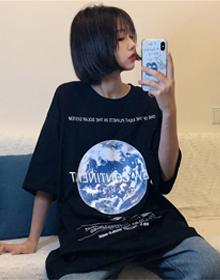(实拍图6535棉)2020新款韩版春夏原宿风复古月球印花短袖T恤女