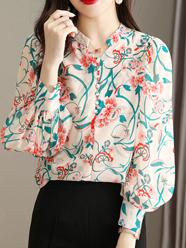 新款碎花雪纺长袖衬衫女2021秋季气质宽松遮肉大码衬衫气质新上衣