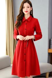 大红色风衣女中长款秋冬装2020年新款外套大衣高端大气质显瘦洋气