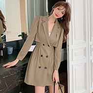 (实拍)时尚个性中长款收腰显瘦气质露腰长袖西服连衣裙8171