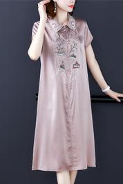 2020春夏新款重磅民族風真絲連衣裙女新款純色機繡桑蠶絲中長裙
