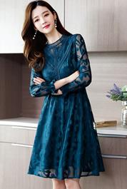 实拍现货2020新款长袖蕾丝修身气质时尚阔太太连衣裙