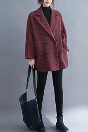 8265#實拍現貨2020年秋冬新款大碼女裝條紋毛呢外套寬松顯瘦西裝