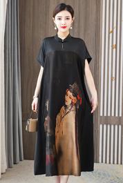 实拍桑蚕丝香云纱连衣裙2021夏新款宽松印花显瘦中国风女装长裙