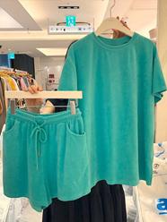 1276#官图实价 65聚酯纤维 30棉 5氨纶 2021新款夏季时尚套装女