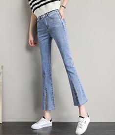 开叉微喇牛仔裤女夏季薄款高腰显瘦2021年新款八九分喇叭裤小个子