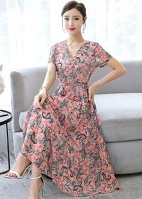 适合胯大的连衣裙2019新款夏季韩版气质显瘦减龄印花过膝大码长裙