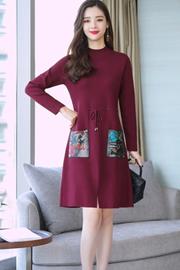 实拍8386#2018秋冬装新款韩版毛衣中长款长袖连衣裙针织衫过膝裙