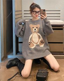 2020孕妇装冬装毛衣女宽松外穿韩版秋冬卡通小熊中长款针织衫加厚