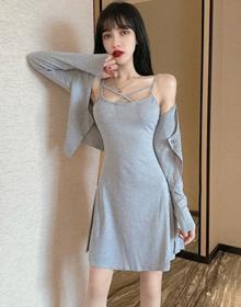 9175#控價46 新款長袖開衫外套+內搭收腰A字吊帶連衣裙時尚兩件套