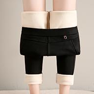 实拍视频 羊羔绒女外穿高腰加绒加厚打底裤弹力显瘦保暖棉裤10217