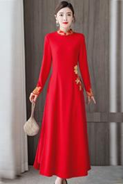 实拍大红红色订婚秋季中国风民族女装过年汉服女旗袍改良版连衣裙