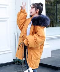 实拍秋冬羽服 女中长款桃皮绒网红棉服宽松ulzzangbf面包服