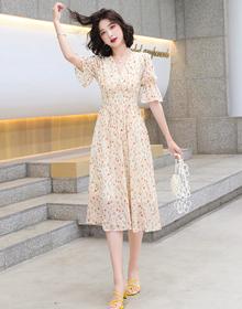 实拍长裙泡泡袖碎花桔梗法式复古小众设计感茶歇连衣裙子轻奢女装