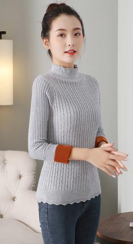 秋冬新款高领毛衣女士加绒加厚打底衫保暖衣服百搭针织线衣短款潮