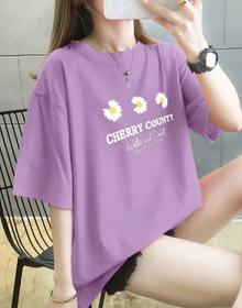 5248#实拍纯棉大码女装2020夏装小雏菊印花紫色圆领短袖T恤女ins