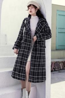 实拍 2019秋冬新款格子复古毛呢外套女过膝长款加棉加厚呢子大衣